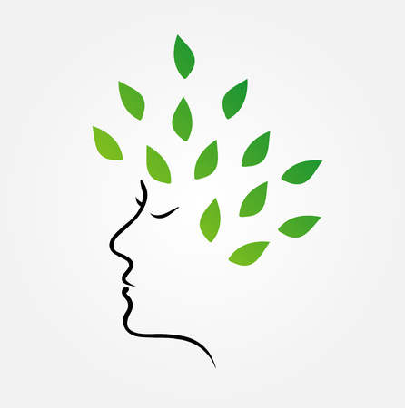 green hair: Womans face with green leaves as hair- organic hair care Illustration