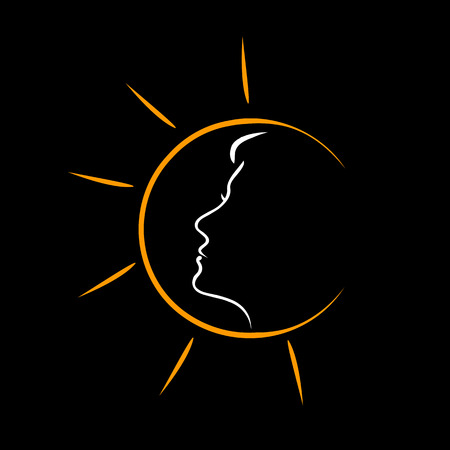 sun tanning: Face of a woman in the sun- showing tanning Illustration