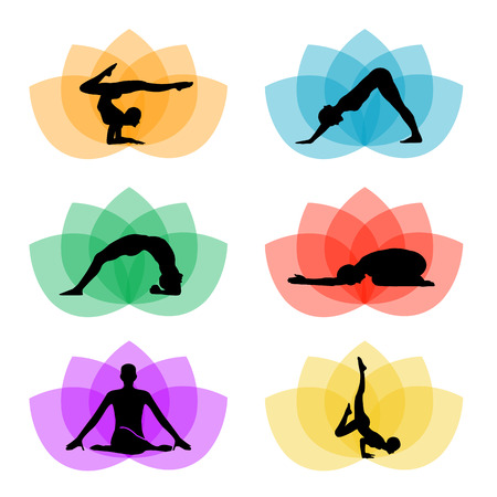 A set of yoga and meditation symbols
