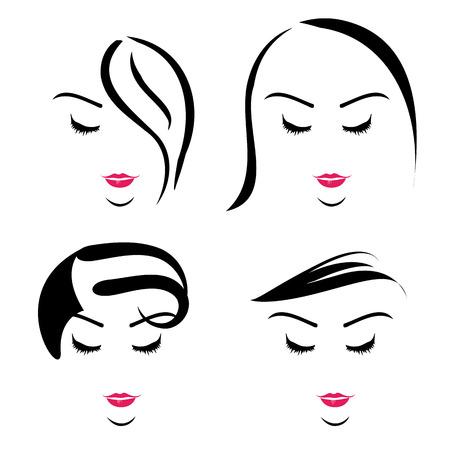 さまざまなヘアスタイルの女性