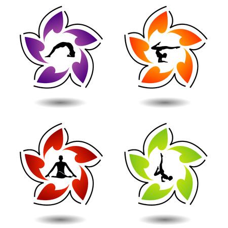 siluetas: Set of colorful yoga silhouette Illustration