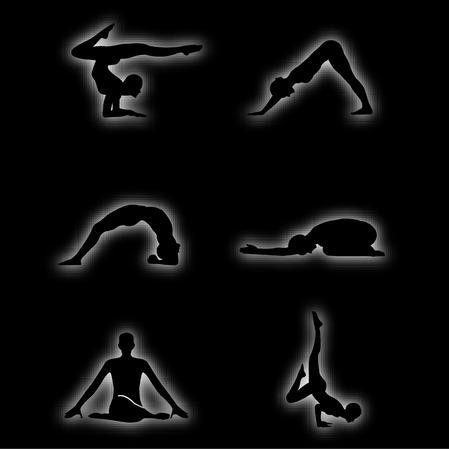girl lying studio: Glowing figures of yoga pose Illustration