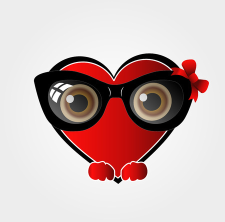cat's eye glasses: A red heart with black spectacles