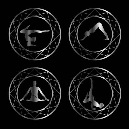 shiatsu: Yoga or gymnast silhouette in geometric design element Illustration