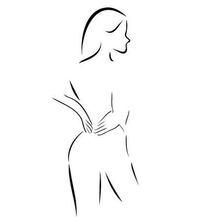 Abstract drawing of a woman massaging her back Vettoriali