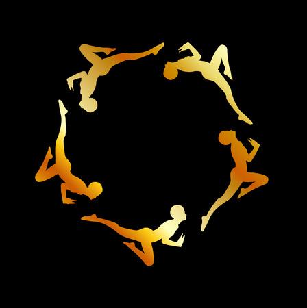 gymnasts: Gymnasts in action- golden logo or graphic Illustration