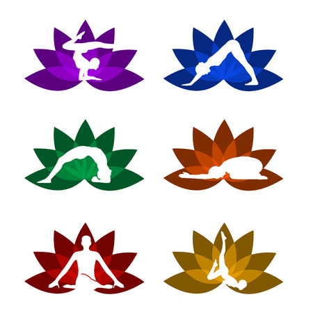siluetas: A set of yoga and meditation symbols