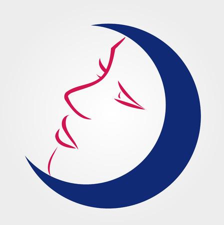 blue moon: Elegant lady inside a blue moon