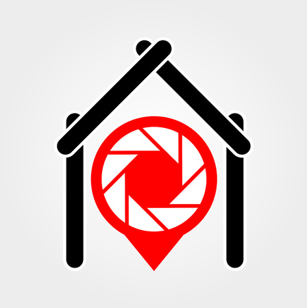 placement: A placement with aperture sign inside a house- A place for photography Illustration