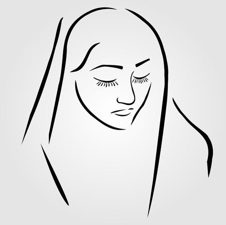 조용한기도로 눈을 감은 베일을 착용 한 수녀