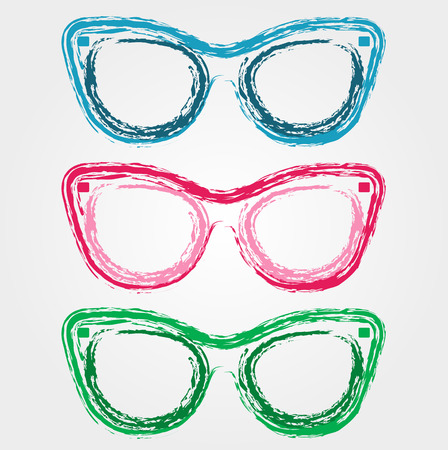 cat's eye glasses: Colorful sunglasses sketched with crayon Illustration