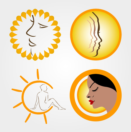 sun tanning: icons for sun tanning