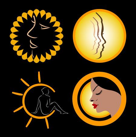 太陽の日焼けのアイコン