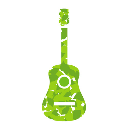 accords: Guitar with green leaves