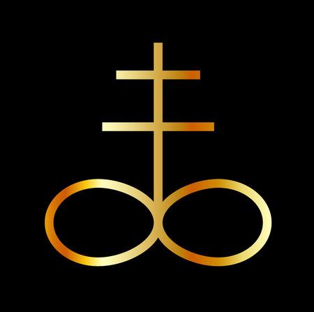 A golden Leviathan Cross or Sulfur symbol