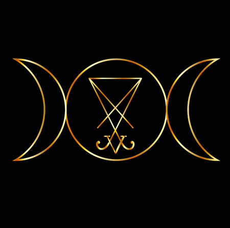 wiccan: Wiccan symbol, Triple Goddess with sigil of Lucifer Illustration