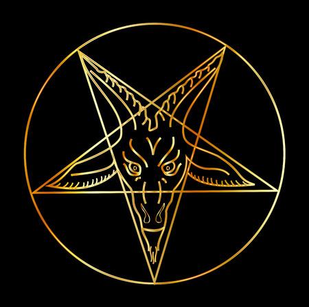 sigil: Golden sigil of Baphomet- Satanism symbol