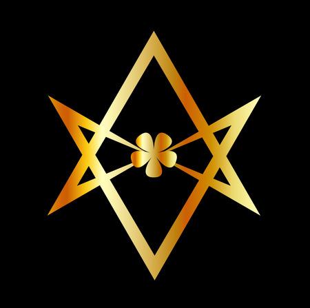 Unicursal hexagram symbol Illustration
