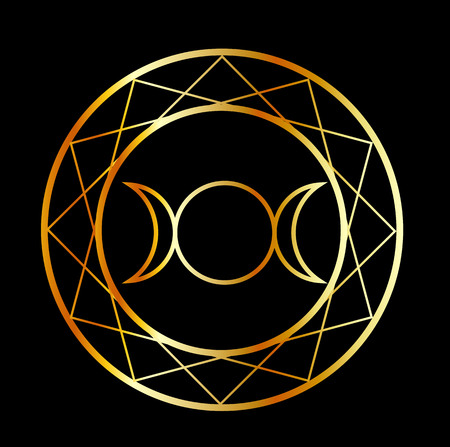 Gold Wiccan symbol Triple Goddess