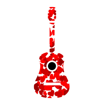 accords: Guitar with red hearts Illustration