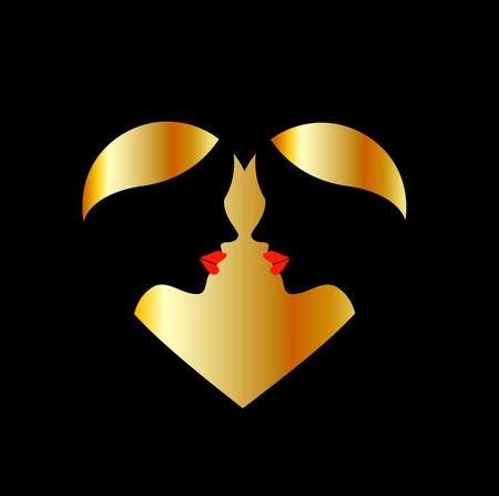 whispering: Women whispering in the dark forming a heart Illustration