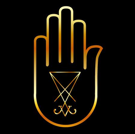 sigil: Sigil of Lucifer in a palm