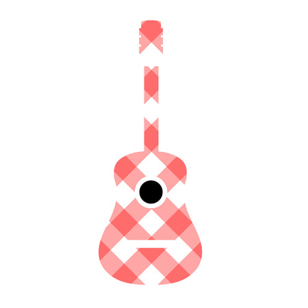 gingham pattern: Guitar with red gingham pattern fabric