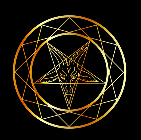 Golden sigil of Baphomet Stock Vector - 53140907