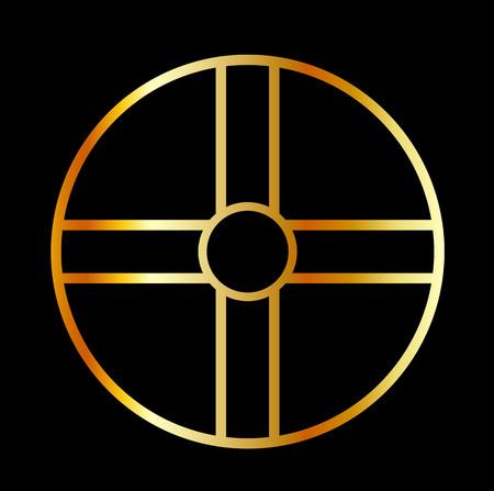 cult: Golden southern cult solar cross symbol