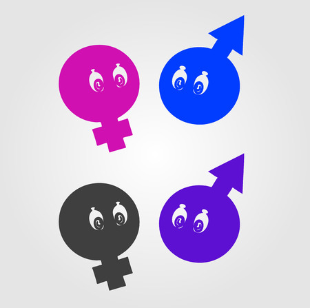 gender identity: Gender symbols with eyes Illustration