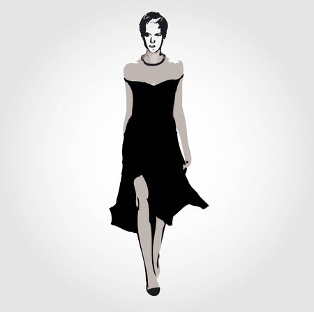 outfit: Runway model in designer outfit Illustration