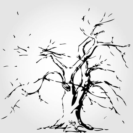 fallen leaves: Abstract tree with fallen leaves Illustration