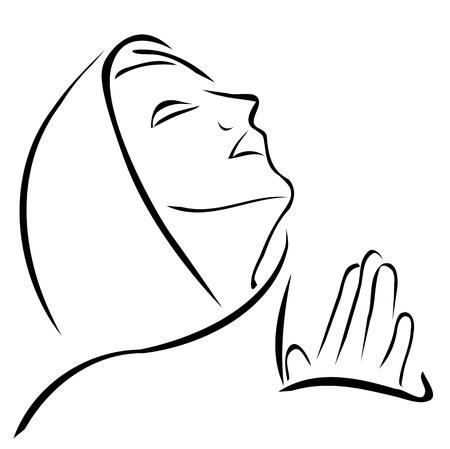 Donna che prega guardando verso il cielo