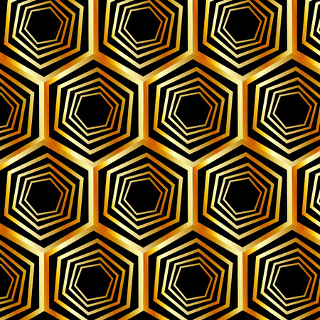 optical: Golden hexagonal optical illusion Illustration