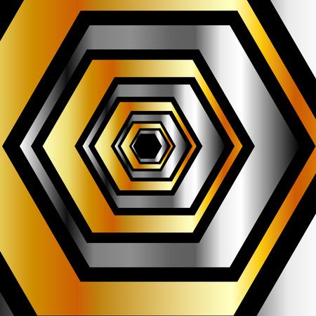 metallic: Metallic hexagonal illusion Illustration