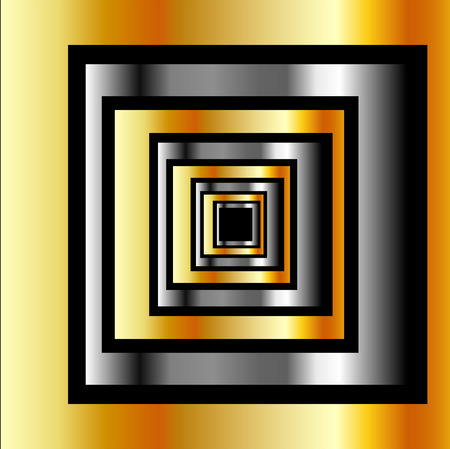 forming: Gold and silver squares forming perspective Illustration