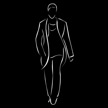 Modelo masculino en desfile de moda