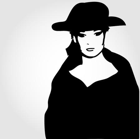 elegant woman: Elegant woman in a hat Illustration