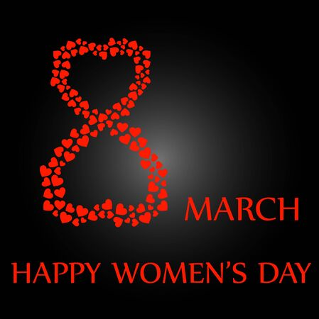 Digit 8 with red hearts- international womens day Illustration