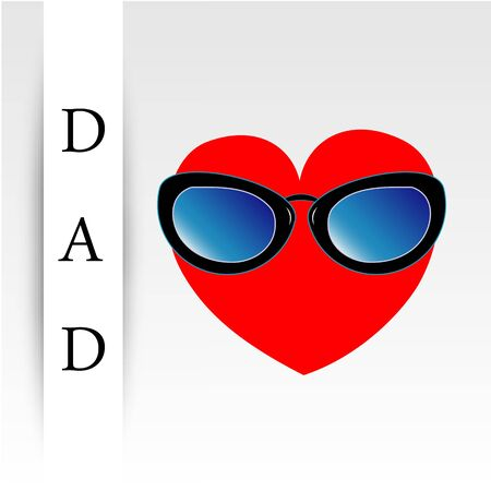 Fathers day card with red heart wearing goggles Vectores