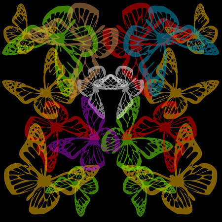Multiple colorful butterflies background on black  イラスト・ベクター素材