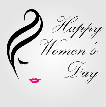Happy womens day card with face of a lady