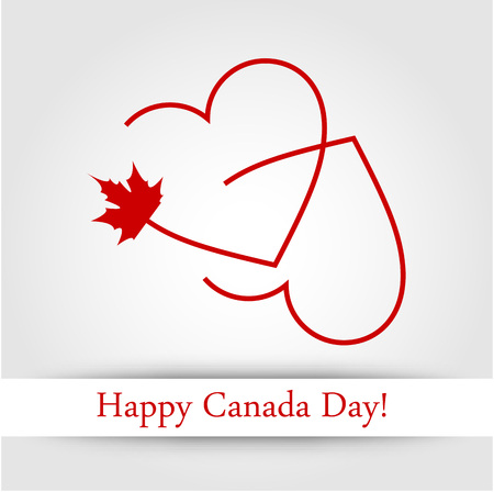 Love for Canada card with maple leaf and red hearts