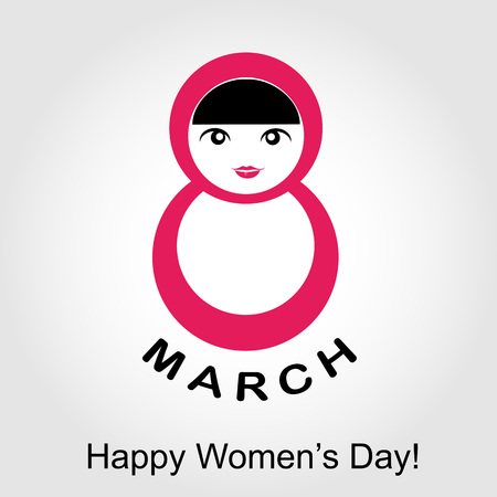 digit 8: Large digit 8 with a woman- graphic for international womens day