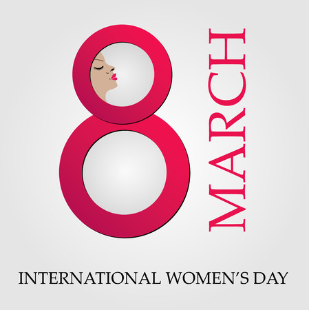 digit 8: Large digit 8 with face of a woman- graphic for international womens day