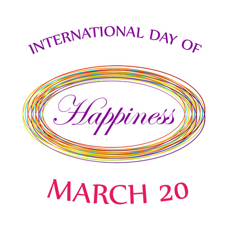 commemorative: Day of Happiness- Commemorative Day March 20 digital card Illustration