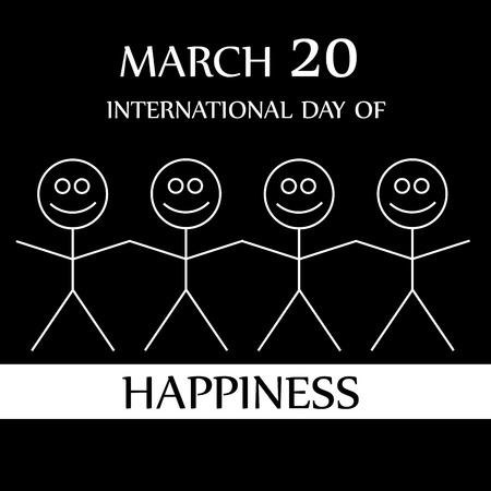 commemorative: Stick figures holding hands to show happiness-International Day of Happiness- Commemorative Day March 20
