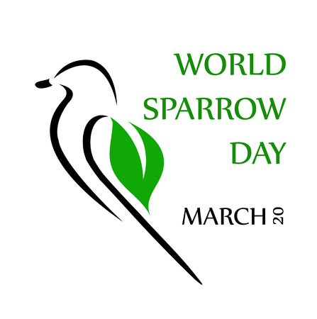 aviary: Lovely sparrow ecard for world sparrow day Illustration