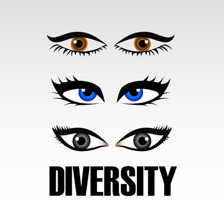 Eyes of women showing diversity