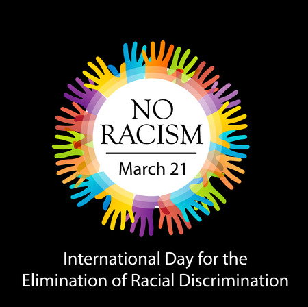 brother brotherhood: No racism graphic with colorful hands Illustration
